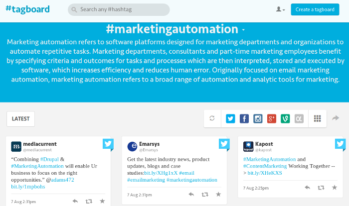 Tagboard for marketingautomation hashtag