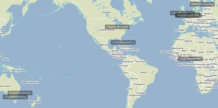 Trendsmap with hashtags use displayed on map